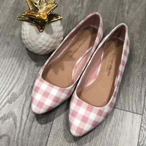 Pink Gingham Point Toe Flats
